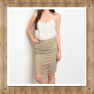 Dresses & Skirts - Knee Length Lace Pencil Skirt in Taupe